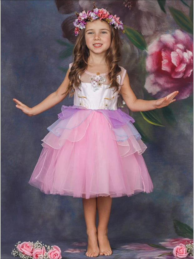 Girls Unicorn Party Tutu Dress - Girls Spring Dressy Dress