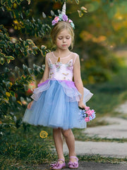 Girls Unicorn Party Tutu Dress - Blue / 3T - Girls Spring Dressy Dress