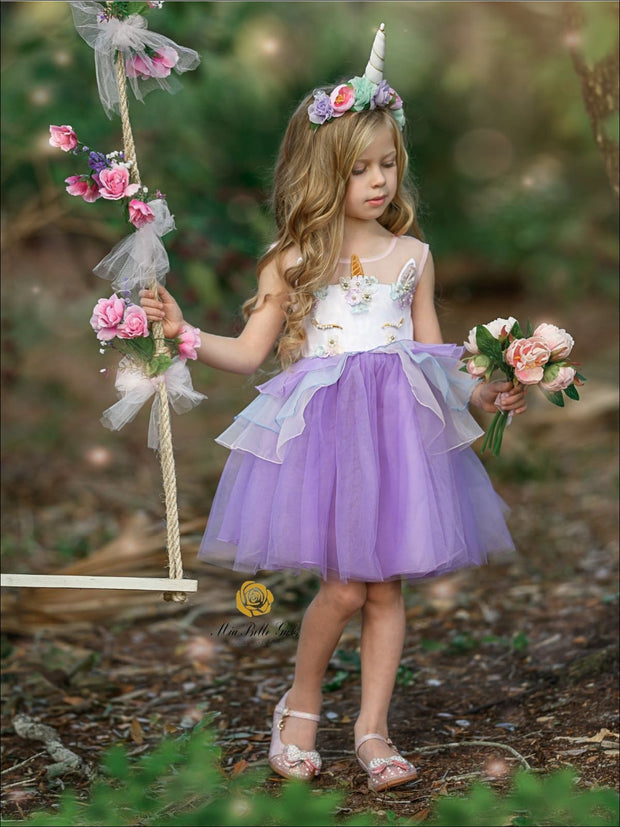 Girls Unicorn Party Tutu Dress - Lavender / 3T - Girls Spring Dressy Dress