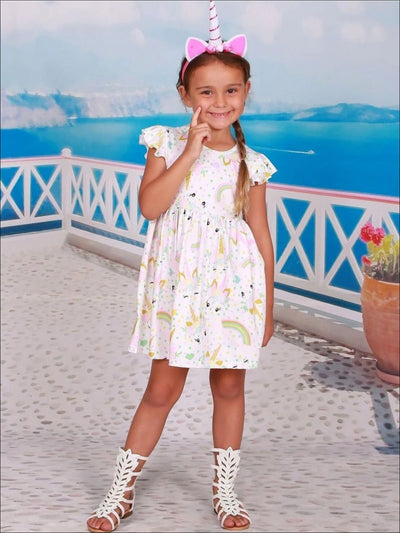 Girls Unicorn Print A-Line Flutter Sleeve Dress with Polka Dots Hearts & Rainbows - Girls Spring Casual Dress