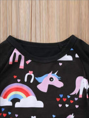 Girls Unicorn Print Black Ruffled Sleeve Top & Jeans Set - Girls Fall Casual Set