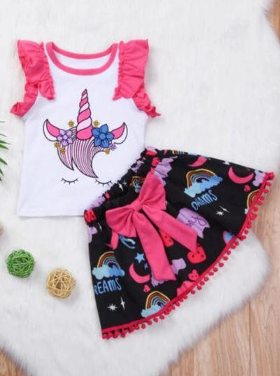 Girls Unicorn Print Casual Two Piece Skirt Set - Girls Spring Casual Set