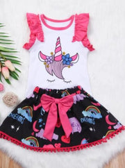 Girls Unicorn Print Casual Two Piece Skirt Set - 2T - Girls Spring Casual Set