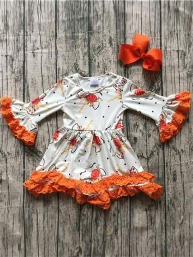 Girls Unicorn & Pumpkin Print Crochet Dress with Long Bell Sleeves - Girls Fall Casual Dress