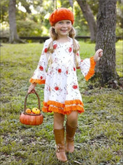 Girls Unicorn & Pumpkin Print Crochet Dress with Long Bell Sleeves - White / XS-2T - Girls Fall Casual Dress