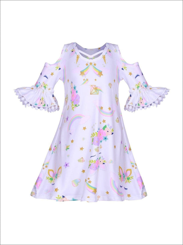 Girls Unicorn Rainbow Print Off the Shoulder Cross Front Dress - Girls Spring Casual Dress