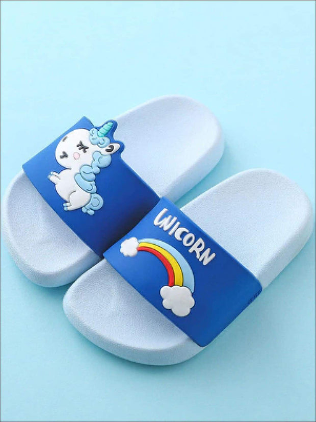 Girls Unicorn Rainbow Slides - Girls Sandals