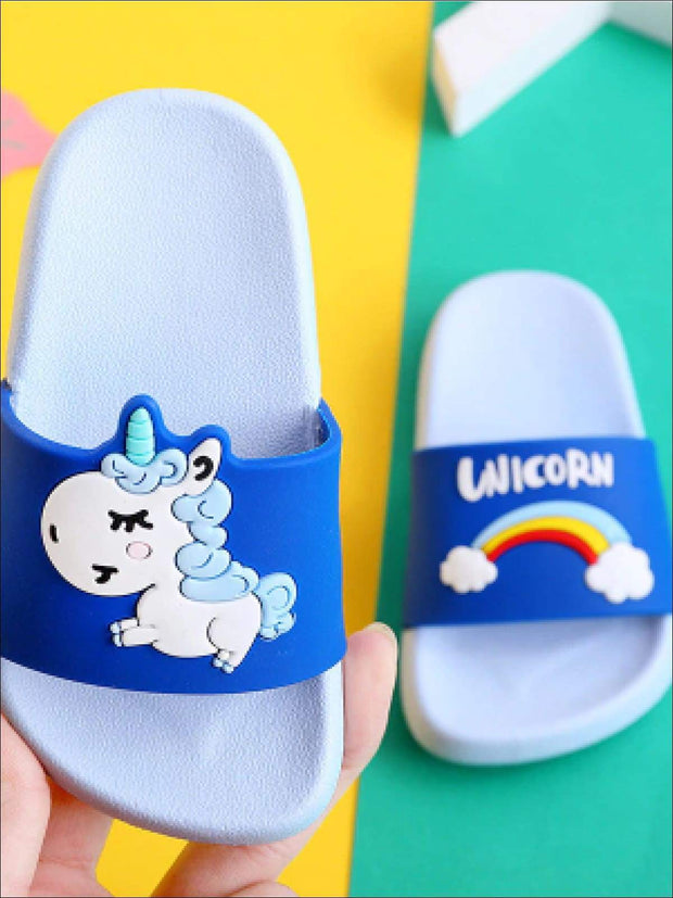 Girls Unicorn Rainbow Slides - Blue / Toddler 9 - Girls Sandals