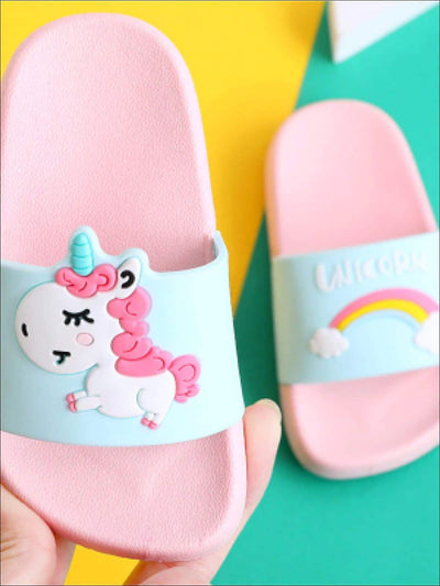 Girls Unicorn Rainbow Slides - Pink / Toddler 9 - Girls Sandals