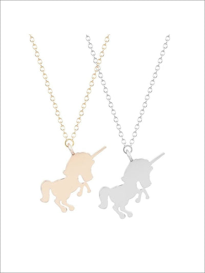 Girls Unicorn Silhouette Necklace - Gold / One Size - Girls Unicorn Necklace