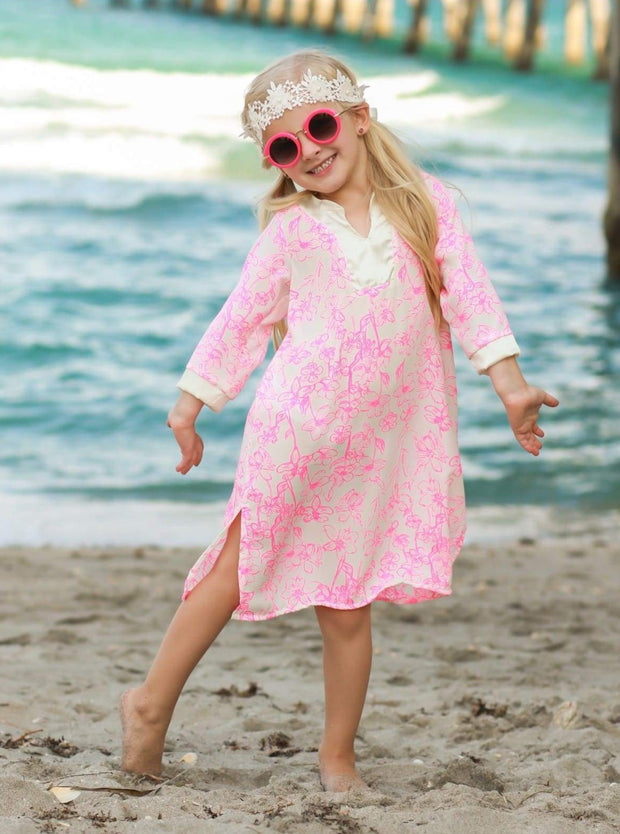 Girls V-Neck Kaftan Style Swimsuit Cover Up - Girls Swimsuit Cover Up