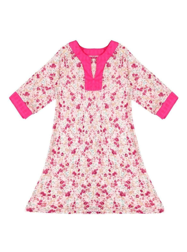 Girls V-Neck Kaftan Style Swimsuit Cover Up - Pink / 2T/3T - Girls Swimsuit Cover Up