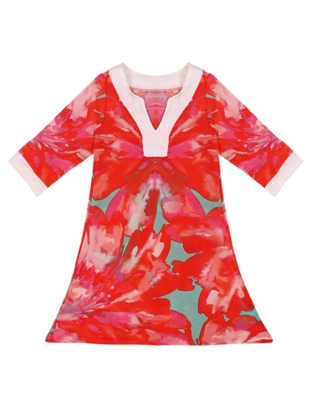 Girls V-Neck Kaftan Style Swimsuit Cover Up - Red / 2T/3T - Girls Swimsuit Cover Up