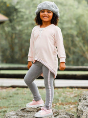 Girls V-Neck Hi-Lo Front Tie Ribbon Stripe Trim Sweatshirt & Leggings Set - Girls Fall Casual Set