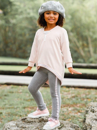 Girls V-Neck Hi-Lo Front Tie Ribbon Stripe Trim Sweatshirt & Leggings Set - Pink / 2T/3T - Girls Fall Casual Set