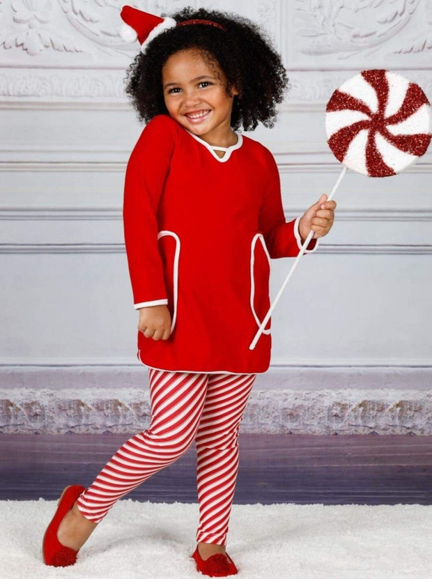 Girls V-Neck Long Sleeve Pocket Tunic & Printed Leggings Set - Girls Fall Casual Set
