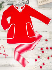 Girls V-Neck Long Sleeve Pocket Tunic & Printed Leggings Set - Red / 2T/3T - Girls Fall Casual Set