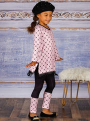 Girls V-Neck Long Sleeve Trimmed Tunic & Cuffed Leggings Set - Girls Fall Casual Set