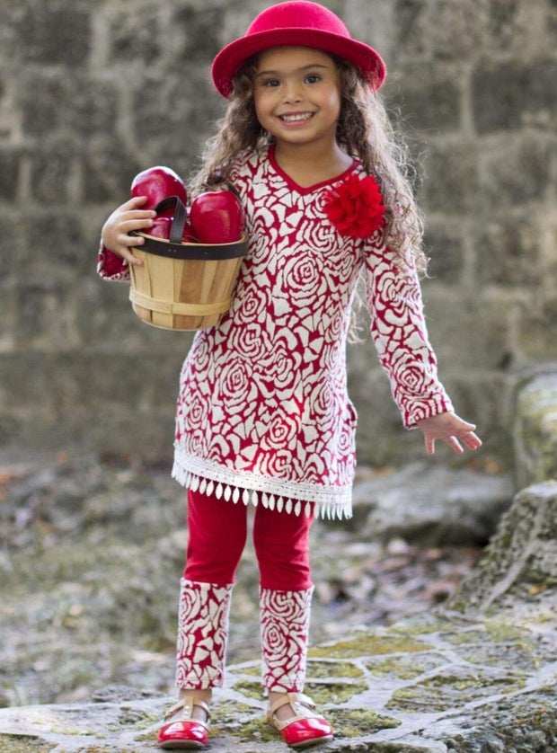 Girls V-Neck Long Sleeve Trimmed Tunic & Cuffed Leggings Set - Red / 2T/3T - Girls Fall Casual Set