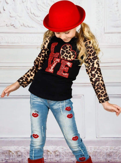 Girls Valentines Day Animal Print Sequin Love Long Raglan Sleeve Top - Girls Fall Top