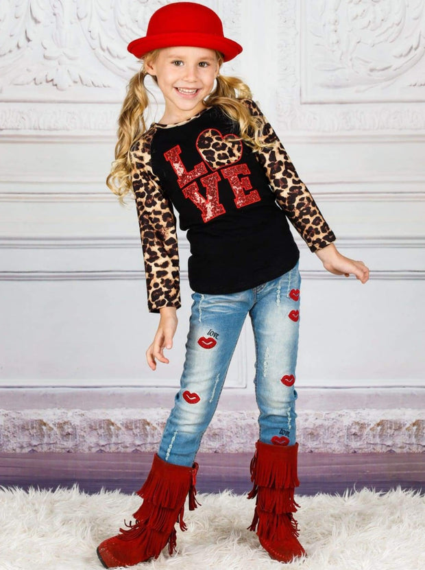 Girls Valentines Day Animal Print Sequin Love Long Raglan Sleeve Top - Black / 2T - Girls Fall Top