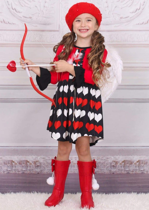 Girls Valentines Day Themed Ruffled Long Sleeve Heart Print Dress - Girls Fall Casual Dress
