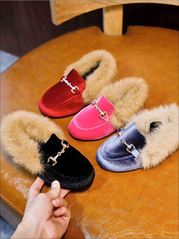 Girls Velvet Faux Fur Loafers - Girls Loafers