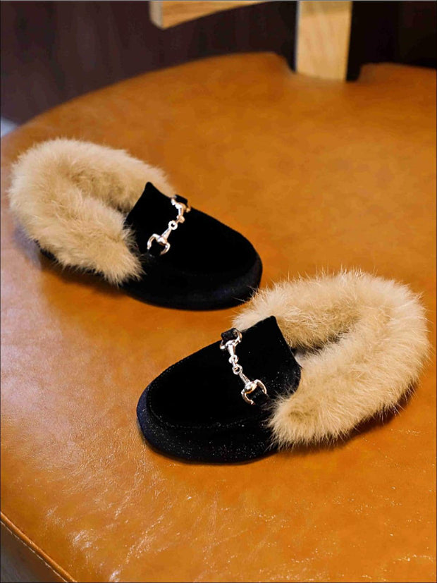 Girls Velvet Faux Fur Loafers - Black / 5.5 - Girls Loafers