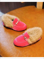 Girls Velvet Faux Fur Loafers - Hot Pink / 5.5 - Girls Loafers