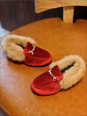 Girls Velvet Faux Fur Loafers - Red / 5.5 - Girls Loafers