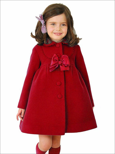 Girls Velvet Pea Coat with Bow - Red / 2T/3T - Girls Jacket