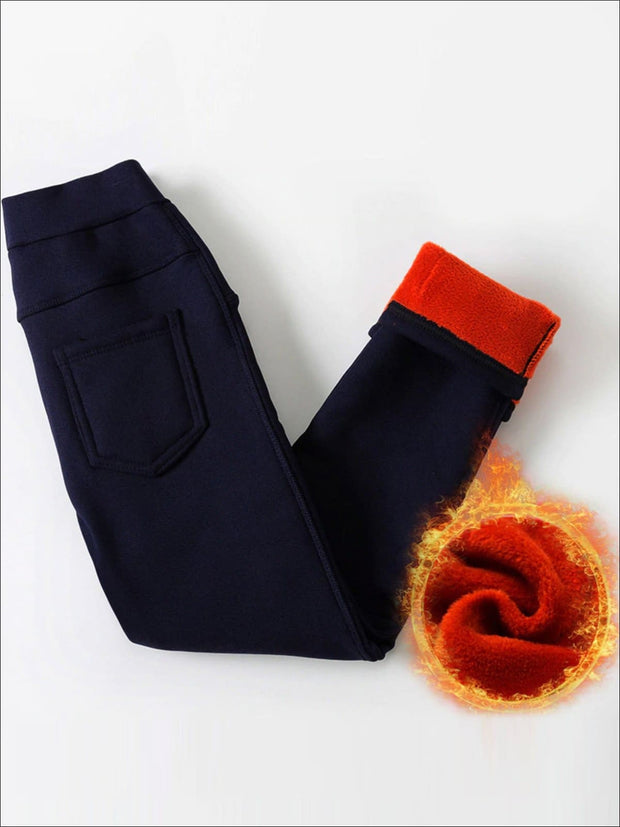 Girls Velvet Pencil Pants - Navy / 3T - Girls Pants