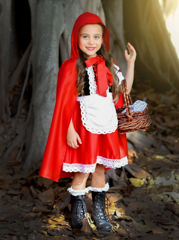 Girls Velvet & Satin Deluxe Little Red Riding Hood Halloween Costume - Girls Halloween Costume