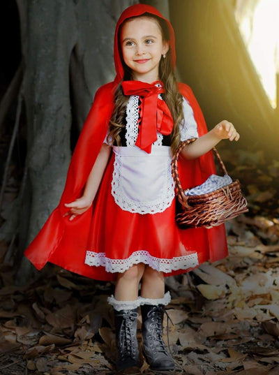 Girls Velvet & Satin Deluxe Little Red Riding Hood Halloween Costume - 2T/3T / Red & White - Girls Halloween Costume
