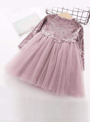 Girls Velvet Tutu Dress with Lace Waist Detail (Pink Blue Gray) - Pink / 2T - Girls Fall Dressy Dress