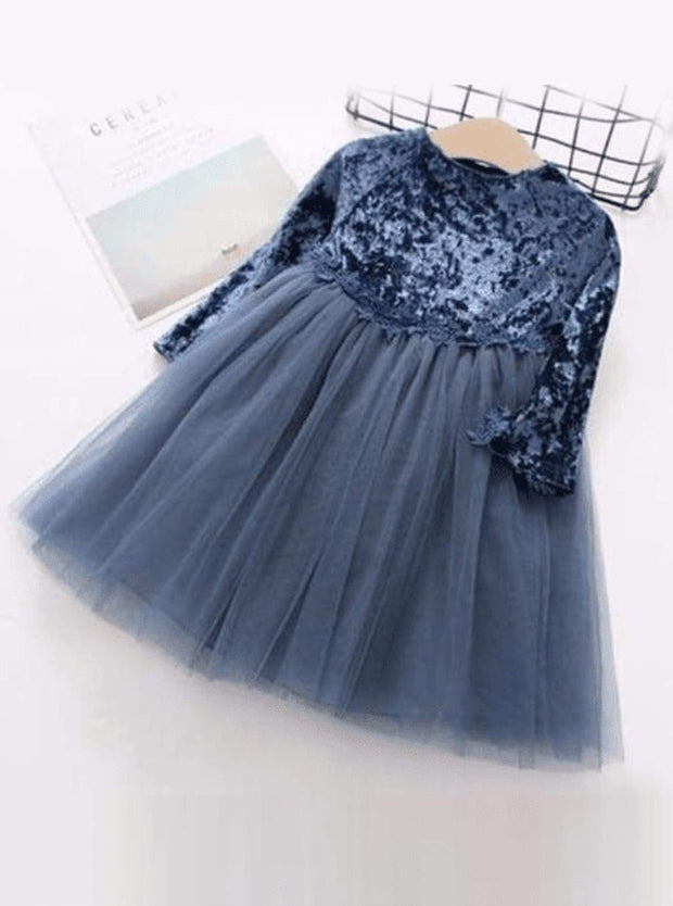 Girls Velvet Tutu Dress with Lace Waist Detail (Pink Blue Gray) - Blue / 2T - Girls Fall Dressy Dress