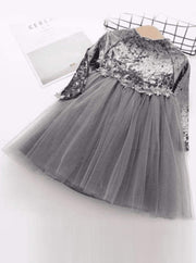 Girls Velvet Tutu Dress with Lace Waist Detail (Pink Blue Gray) - Gray / 2T - Girls Fall Dressy Dress
