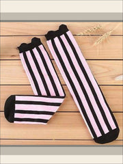 Girls Vertical Stripe Knee Socks (7 colors) - Girls Knee Socks