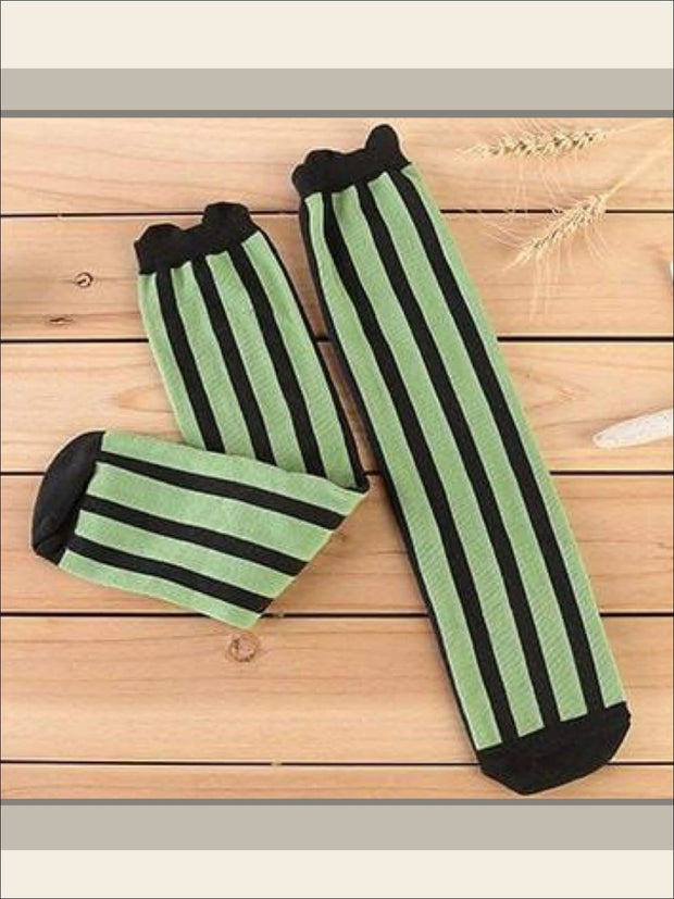 Girls Vertical Stripe Knee Socks (7 colors) - Green / 3 to 12 years old - Girls Knee Socks