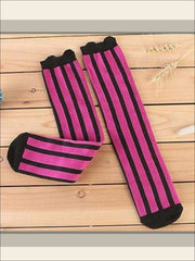 Girls Vertical Stripe Knee Socks (7 colors) - Hot Pink / 3 to 12 years old - Girls Knee Socks