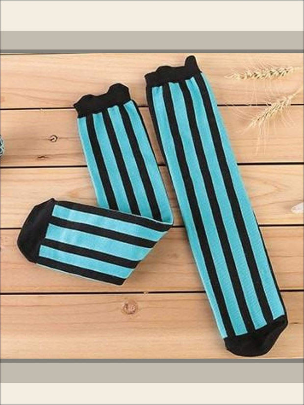 Girls Vertical Stripe Knee Socks (7 colors) - Turquoise / 3 to 12 years old - Girls Knee Socks