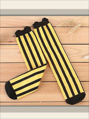 Girls Vertical Stripe Knee Socks (7 colors) - Yellow / 3 to 12 years old - Girls Knee Socks