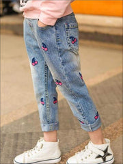 Girls Vintage Cherry Patch Straight Jeans - Girls Jeans