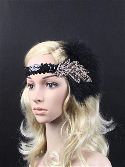 Girls Vintage Feather Sequin Embellished Flapper Headpiece - One Size - Hair Accessories
