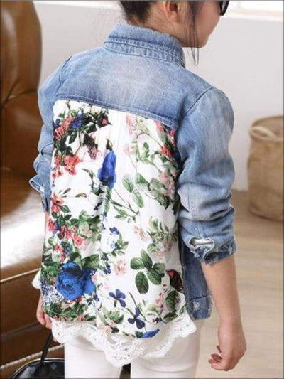Girls Vintage Floral Print Distressed Denim Jacket - 9 - Girls Jacket