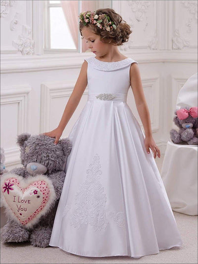 Girls Vintage Style Embellished Floor Length Gown with Crystal Applique - White / 2T - Girls Gown