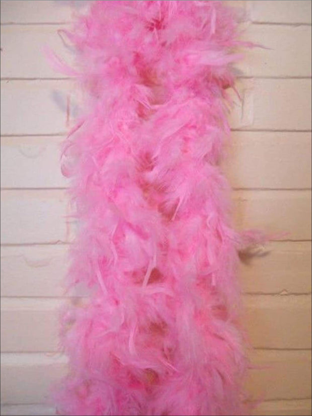 Girls Vintage Style Feather Boa Shawl ( Multiple Color Options) - pink - Girls Halloween Costume