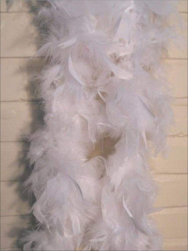 Girls Vintage Style Feather Boa Shawl ( Multiple Color Options) - white - Girls Halloween Costume