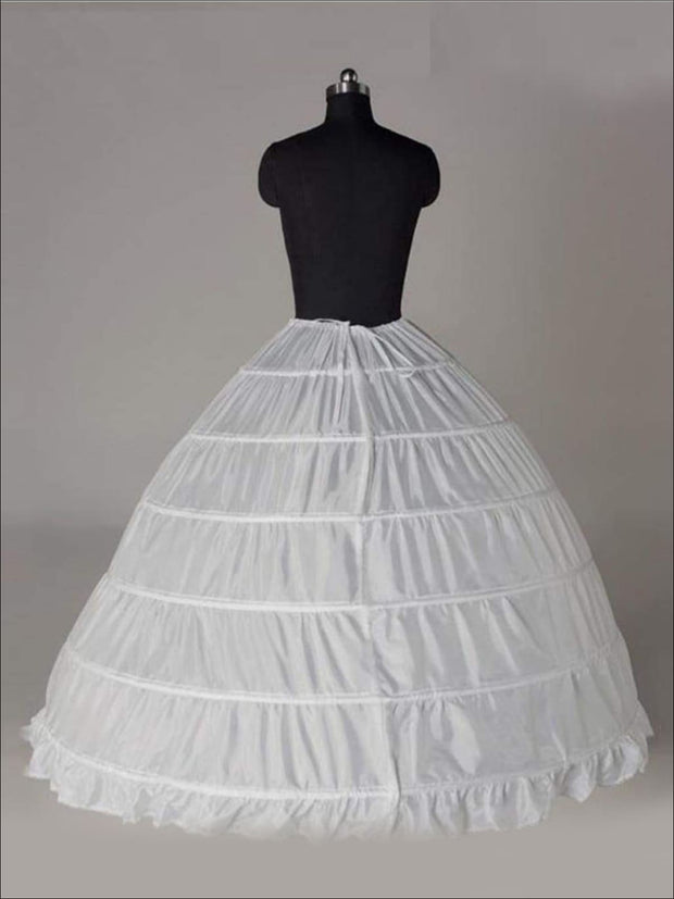 Girls Voluminous 6 Hoop Floor Length Petticoat Underskirt (Black & White) - Flower Girl Dresses