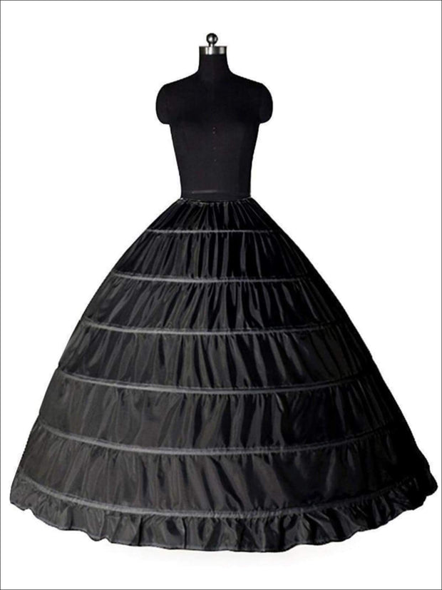 Girls Voluminous 6 Hoop Floor Length Petticoat Underskirt (Black & White) - Black / One Size - Flower Girl Dresses